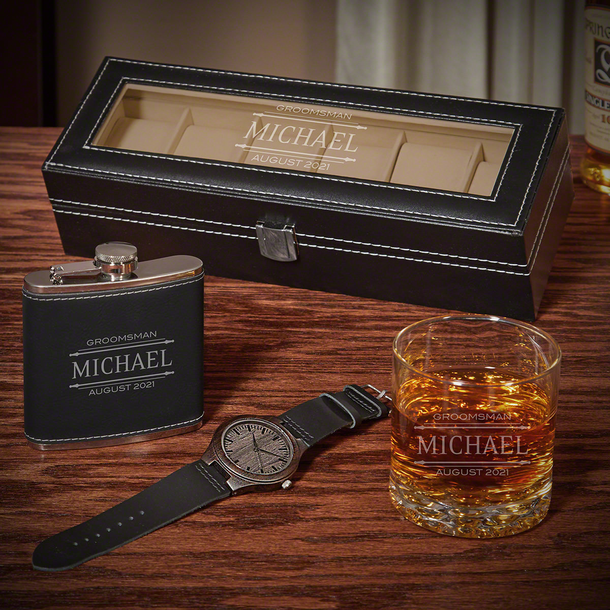 Stanford Personalized Watch Case Set of Gift Ideas for Men