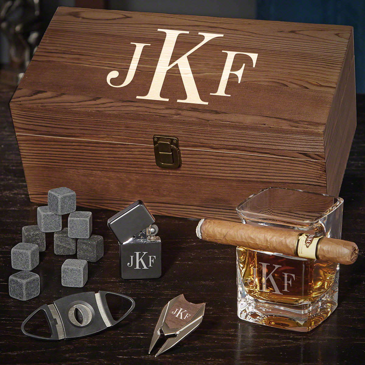 Classic Monogram Personalized Ultimate Whiskey and Cigar Gifts for Him