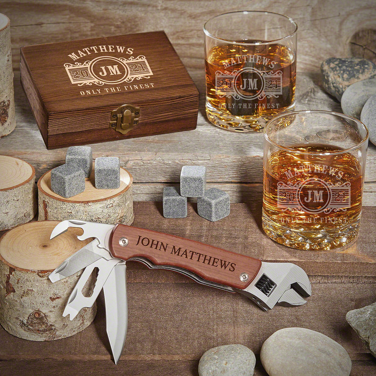 Marquee Personalized Whiskey Gift Set with Multi Tool