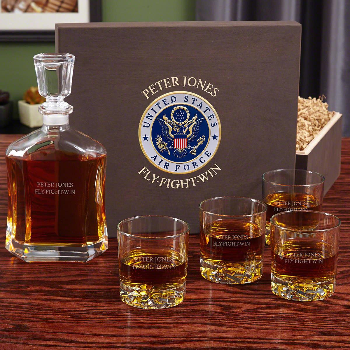 Custom Argos Whiskey Decanter Set Air Force Retirement Gifts