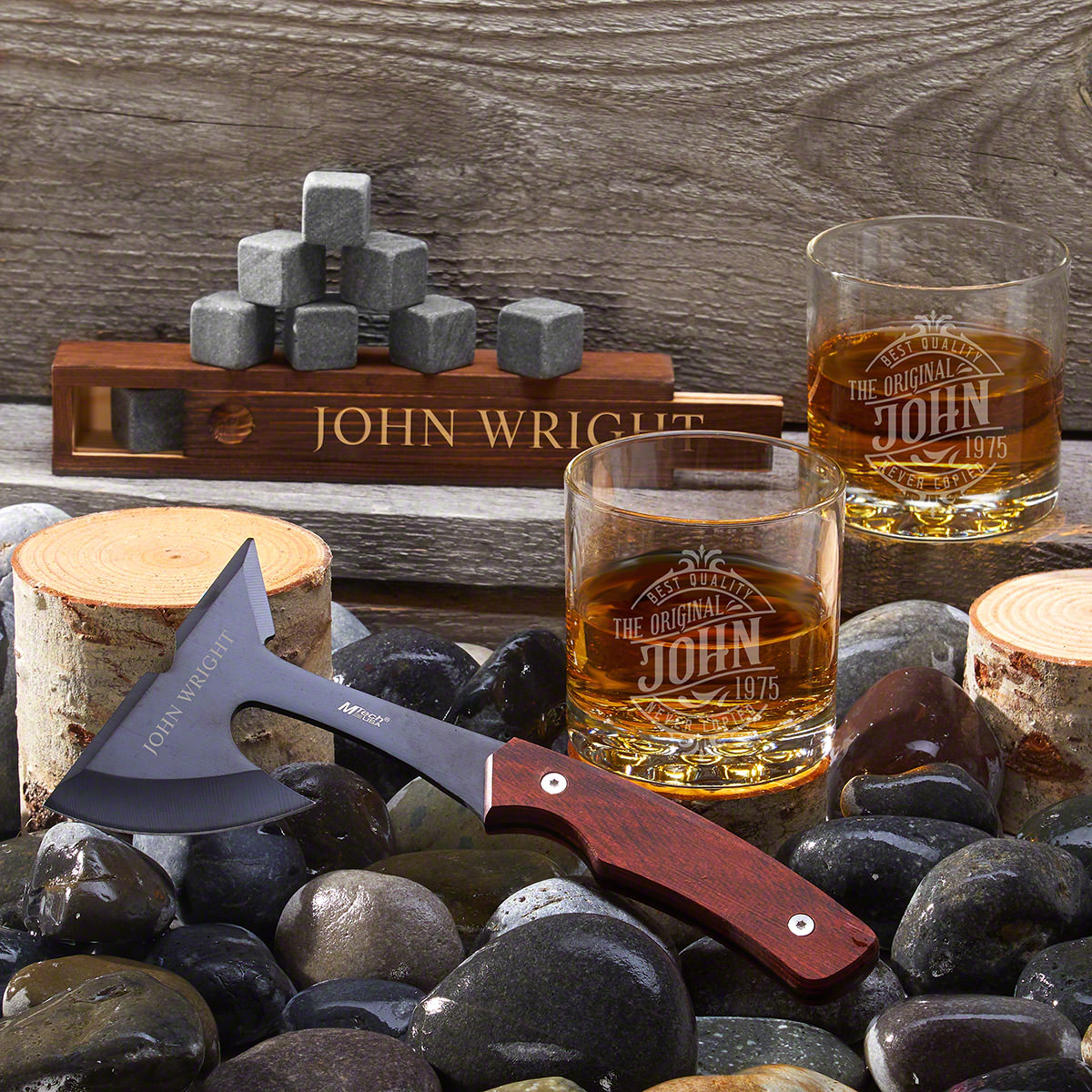 Great Oaks Maddux Personalized Axe and Whiskey Gift Set