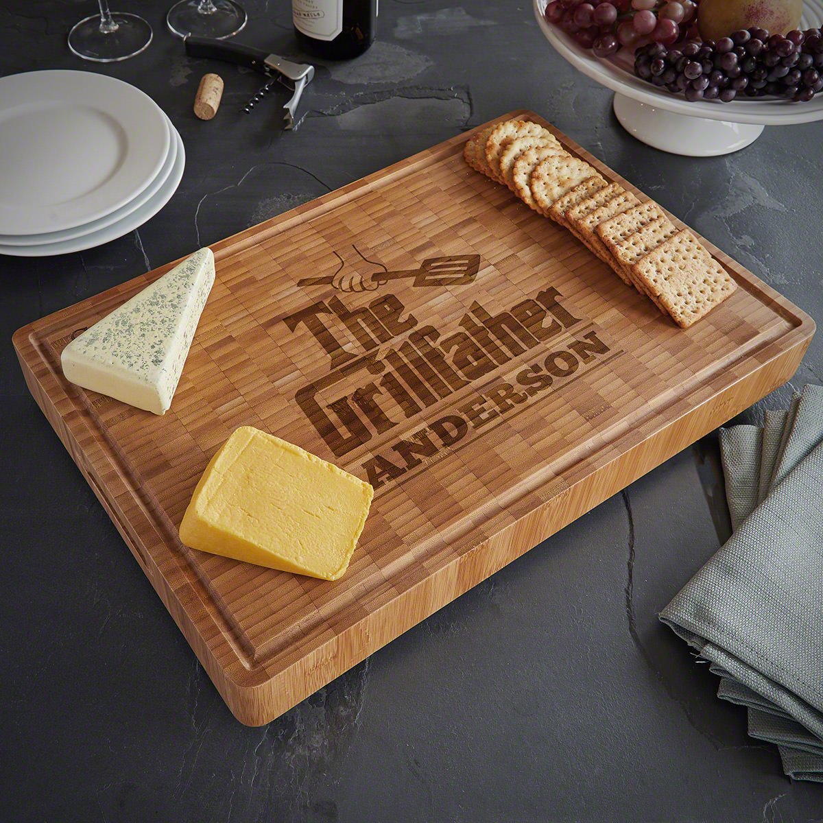 The Grillfather End Grain Custom Bamboo Cutting Board