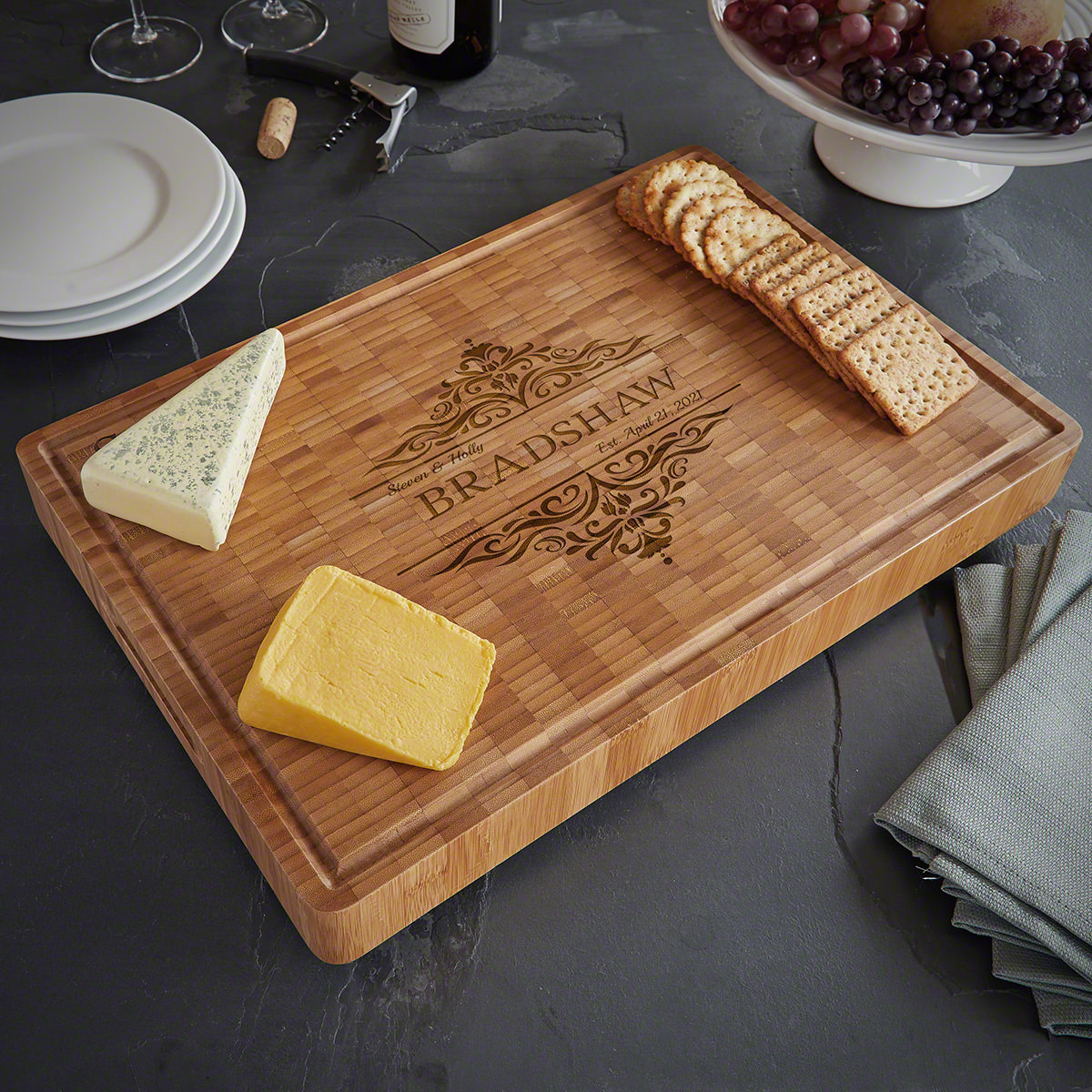 Family Home Bamboo Personalized End Grain Charcuterie Board