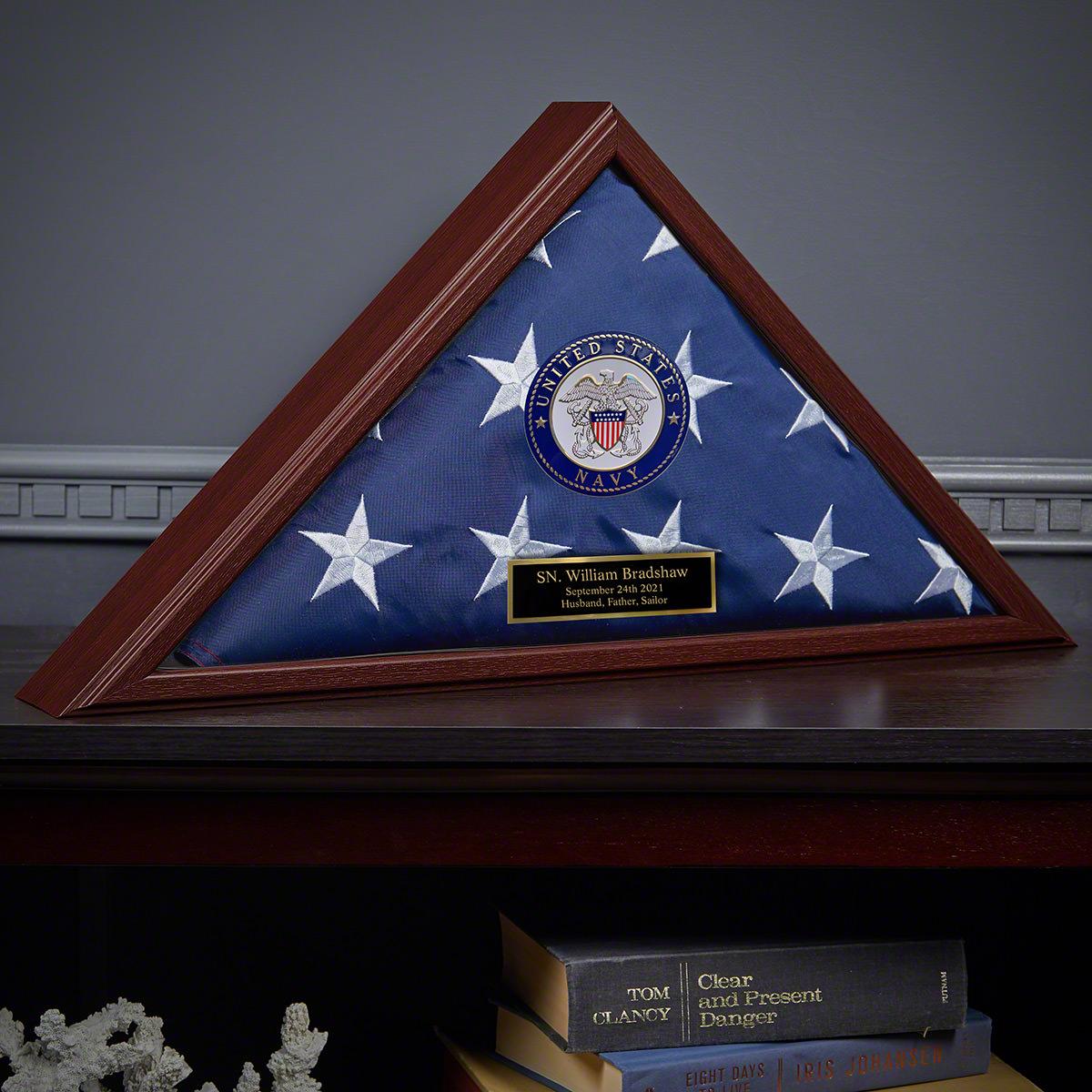 Custom Flag Case Navy Retirement Gift