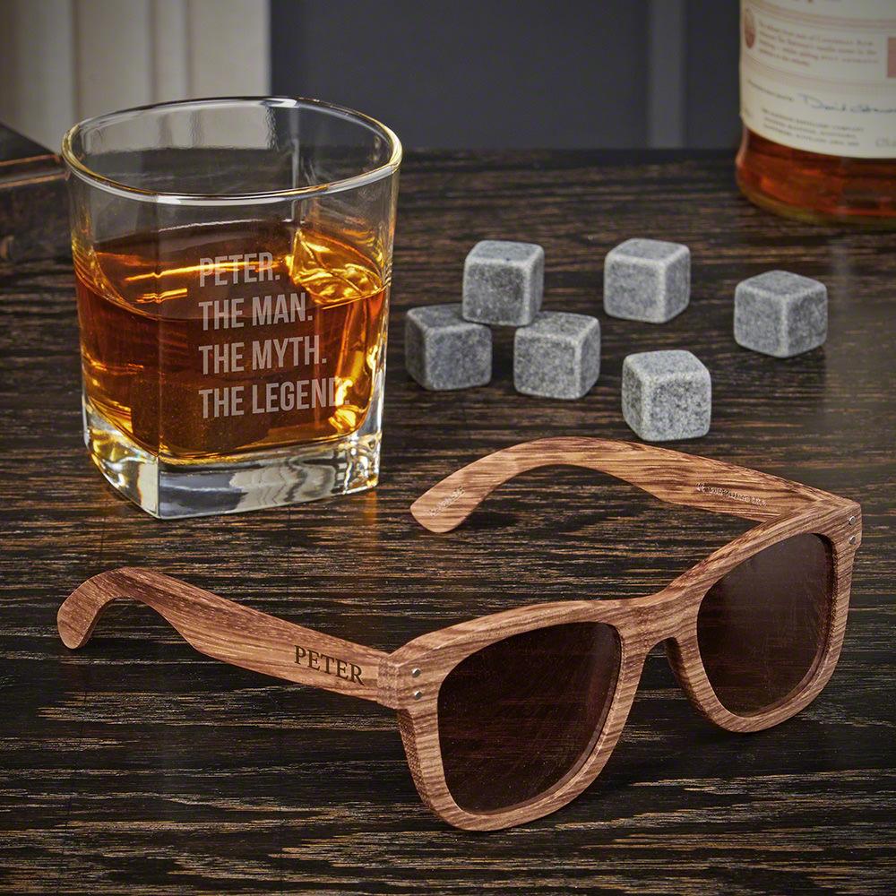 Man Myth Legend Custom Whiskey Gifts for Groomsmen with Sunglasses