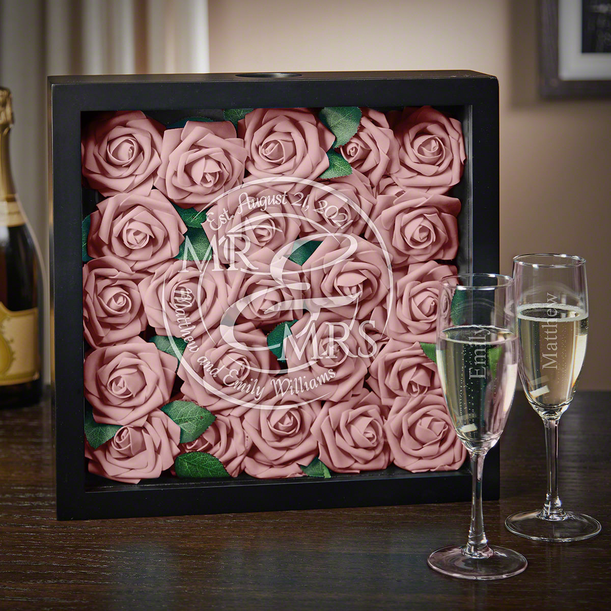 When Love Comes Together Personalized Shadow Box & Champagne Flutes Wedding Gift Ideas
