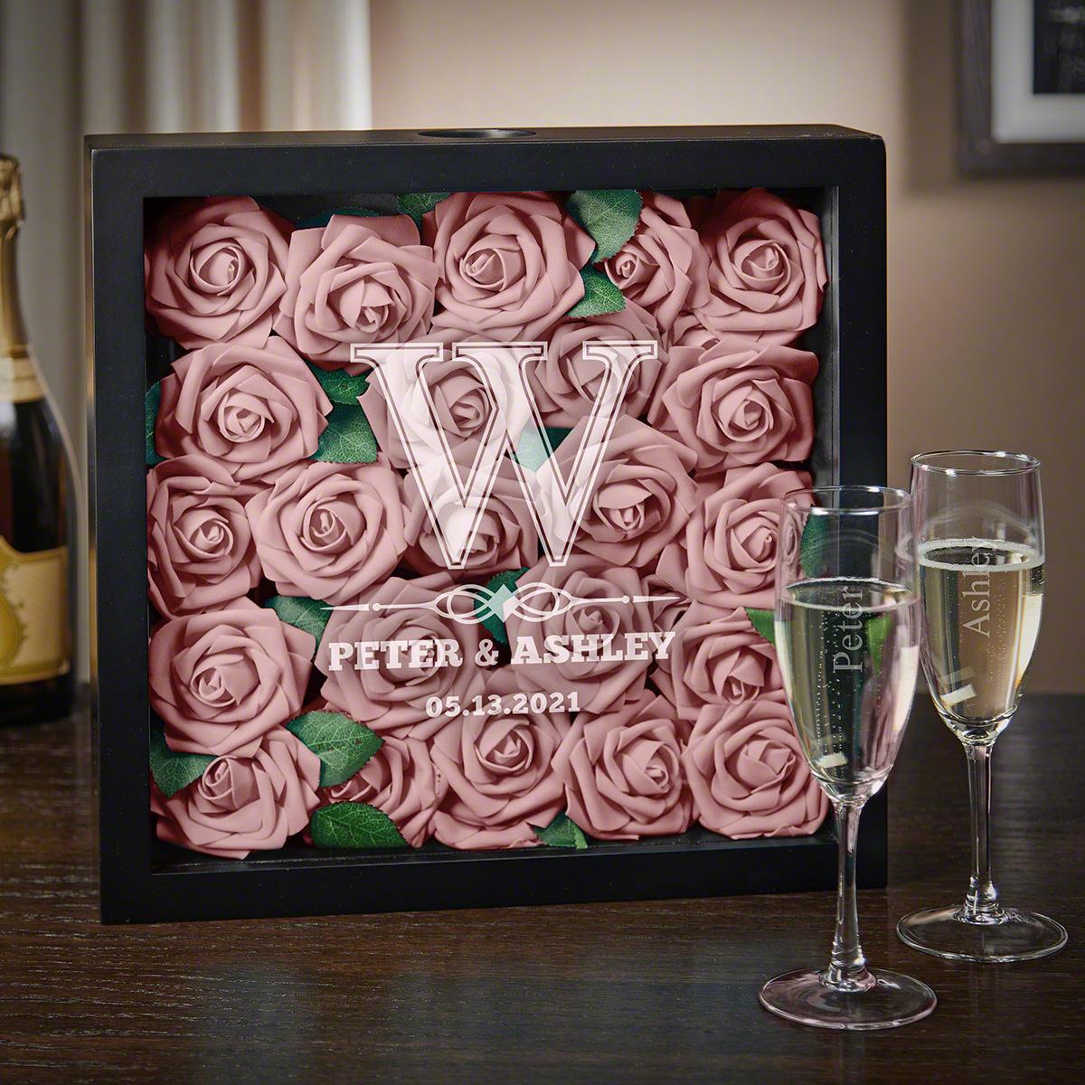 Lyndhurst Custom Shadow Box With Champagne Flutes Wedding Gift
