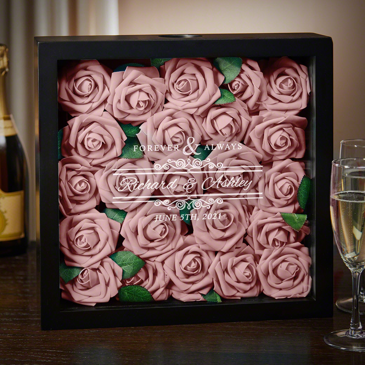 Forever And Always Personalized Wedding Shadow Box
