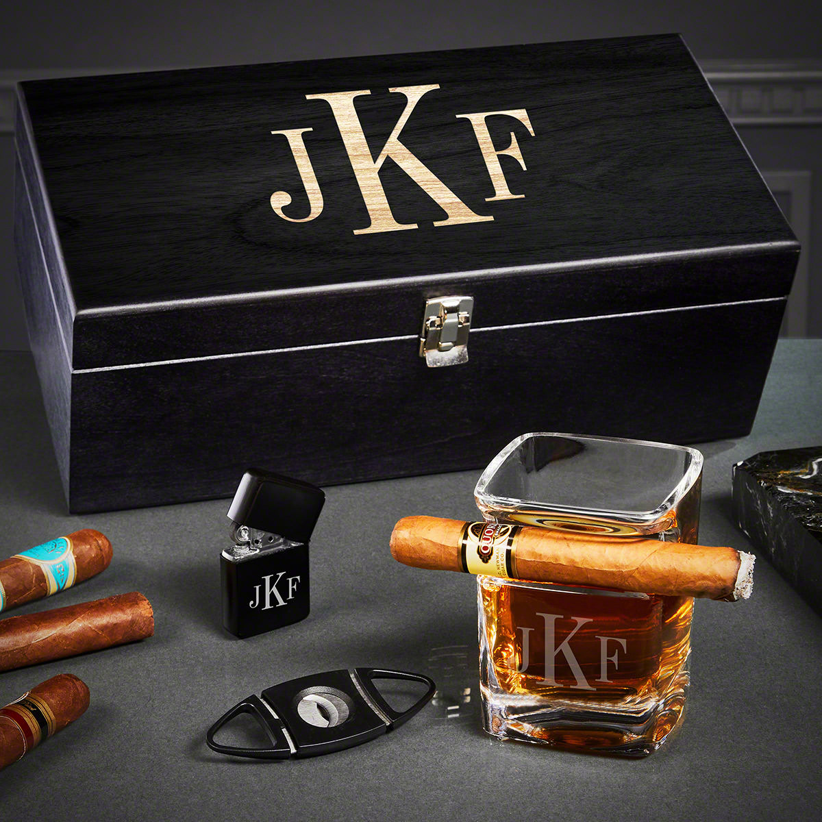 Classic Monogram Engraved Cigar and Whiskey Gift Set