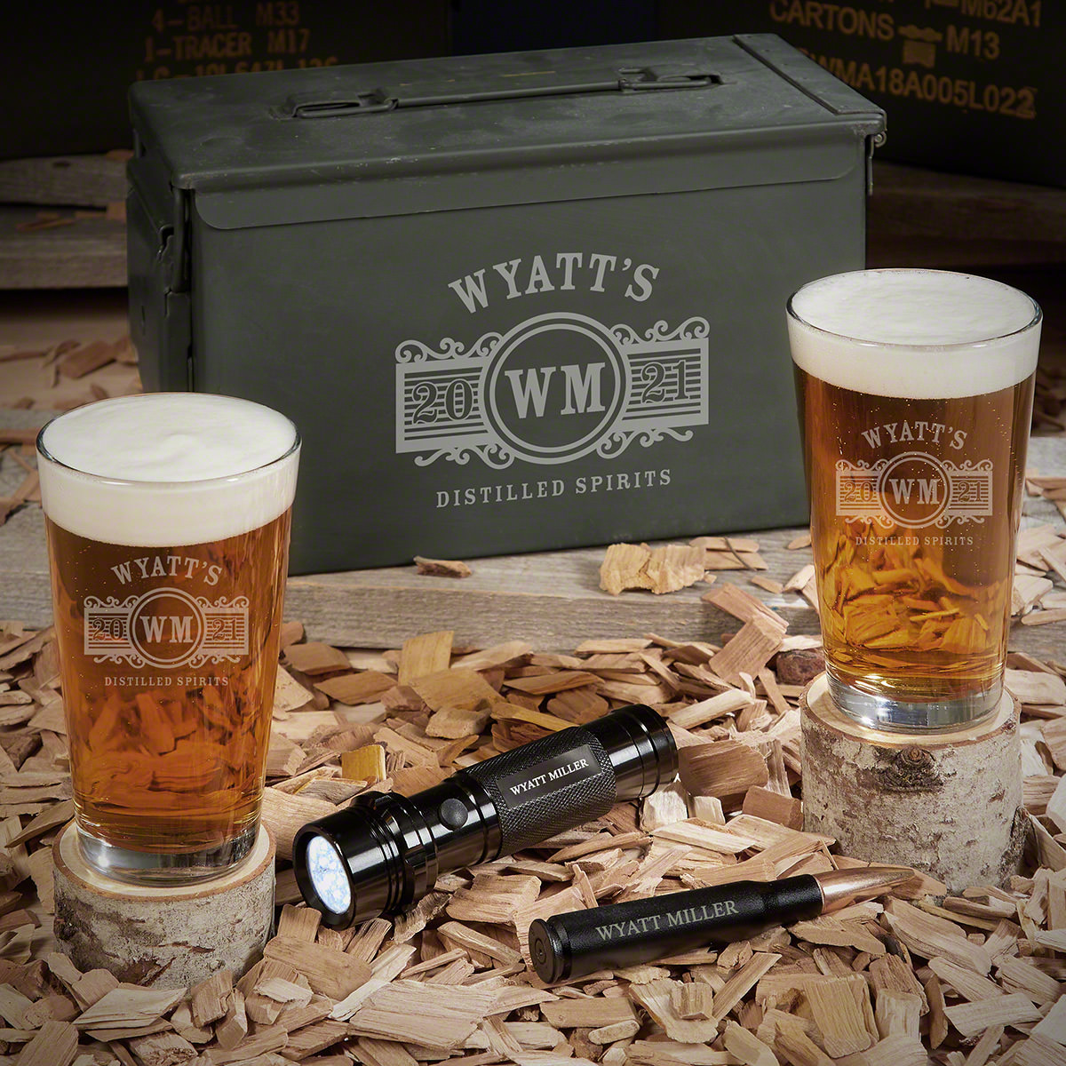 Marquee Custom 50 Cal Ammo Can Set of Gifts for Beer Lovers