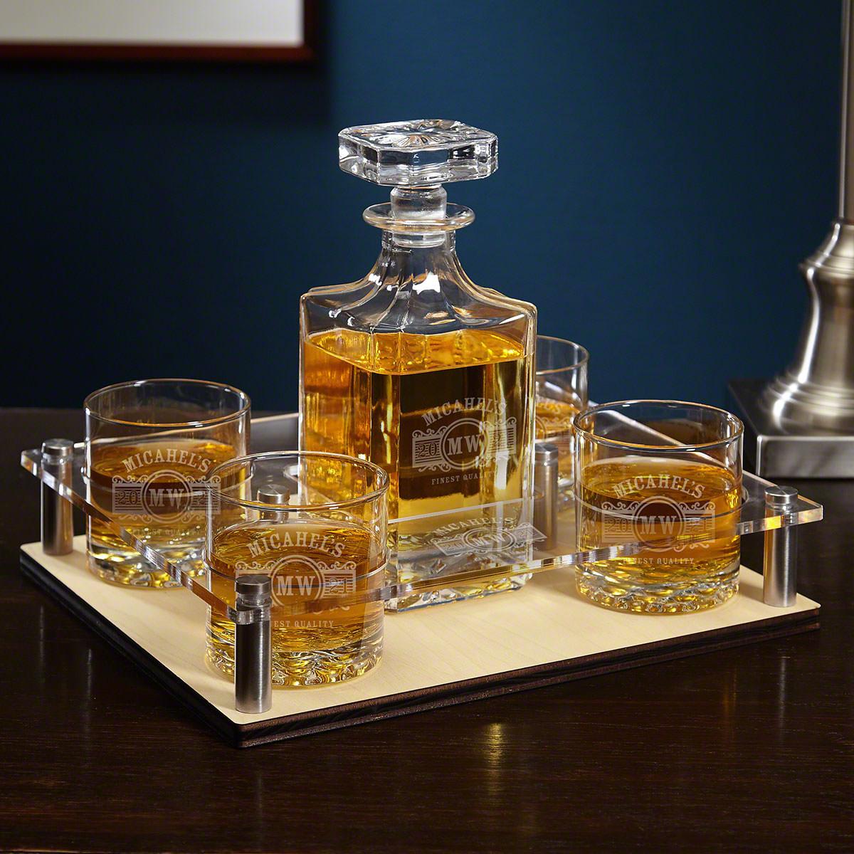 Marquee Engraved Liquor Decanter Presentation Set