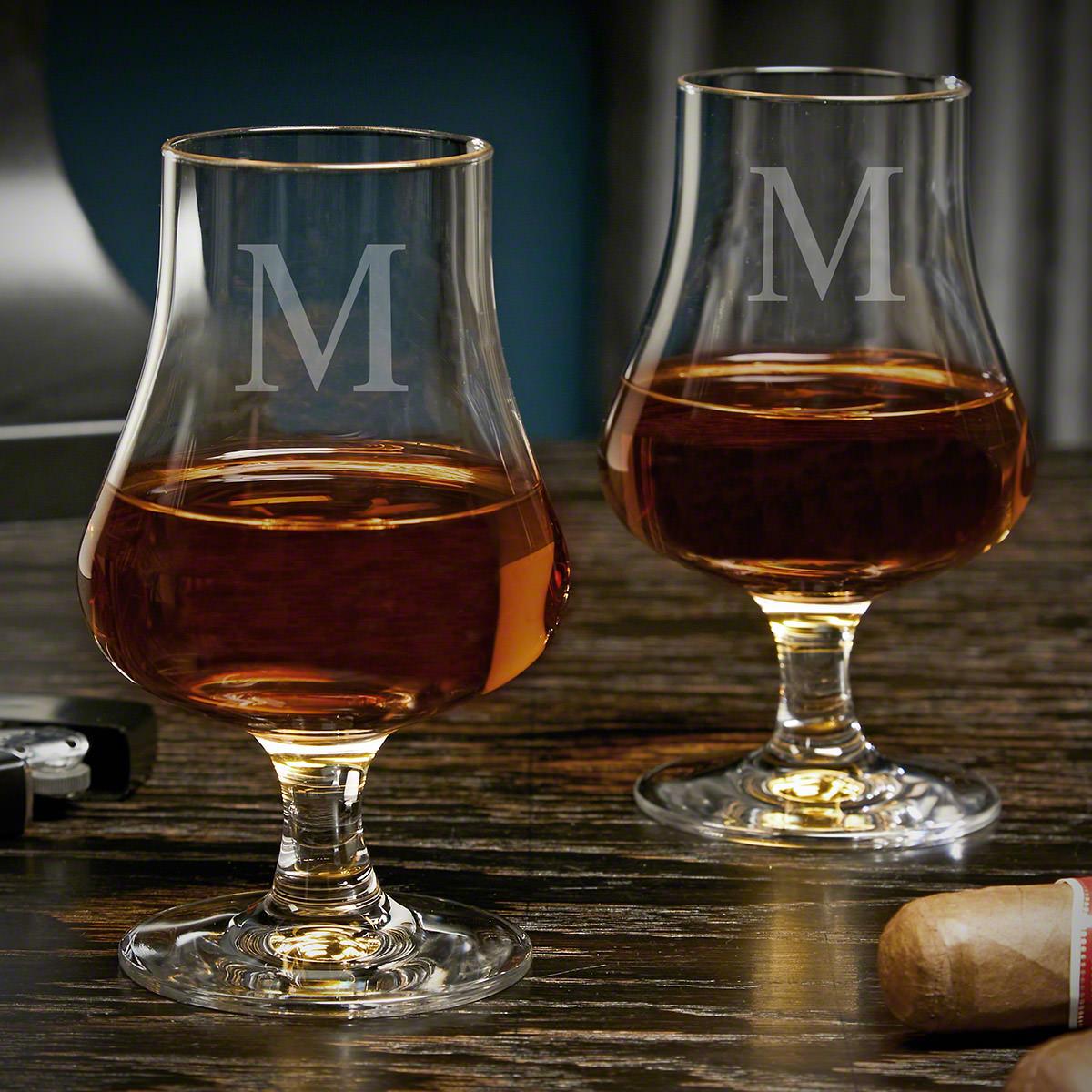 Single Initial Custom Nosing Whiskey Tasting Glasses Set of 2