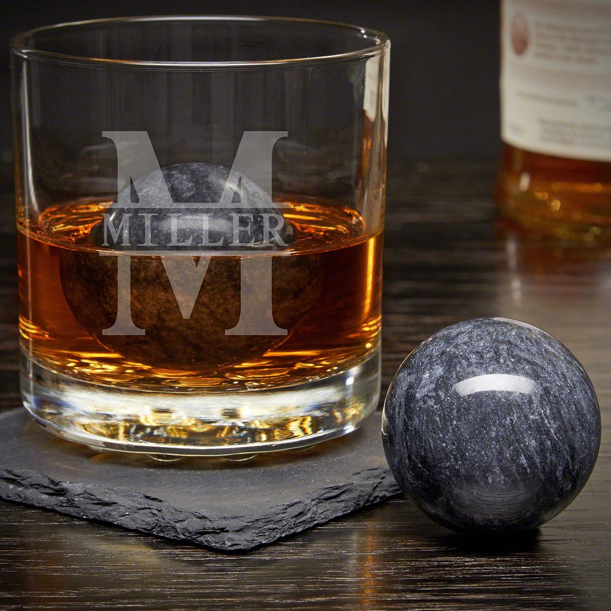 Oakmont Custom Rocks Glass with Whiskey Spheres