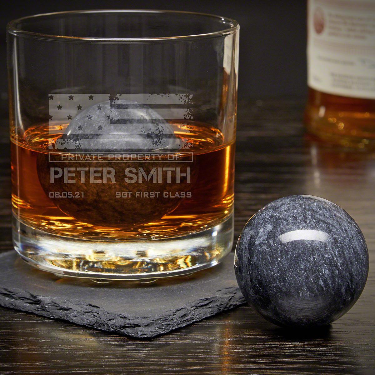 American Heroes Custom Rocks Glass with Whiskey Spheres