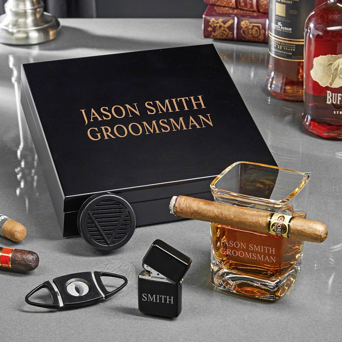 Engraved Black Humidor Cigar Gift Set