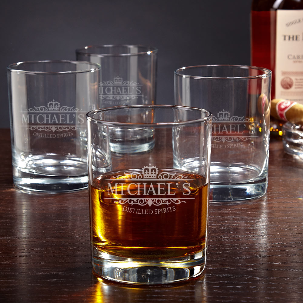 Eastham Kensington Personalized Whiskey Glasses, Set of 4