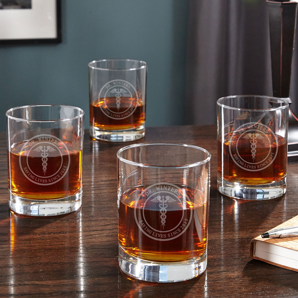 Medical Arts Personalized Whiskey Glasses, Set of 4 - Gift for Doctor