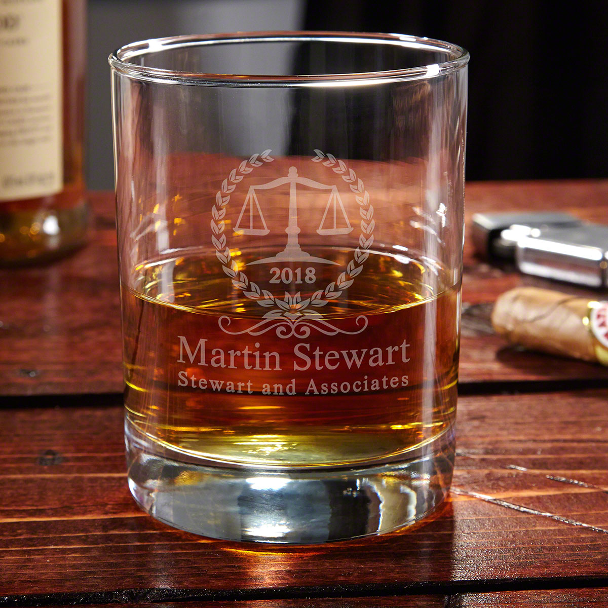Personalized Thurgood Whiskey Glass for Lawyers