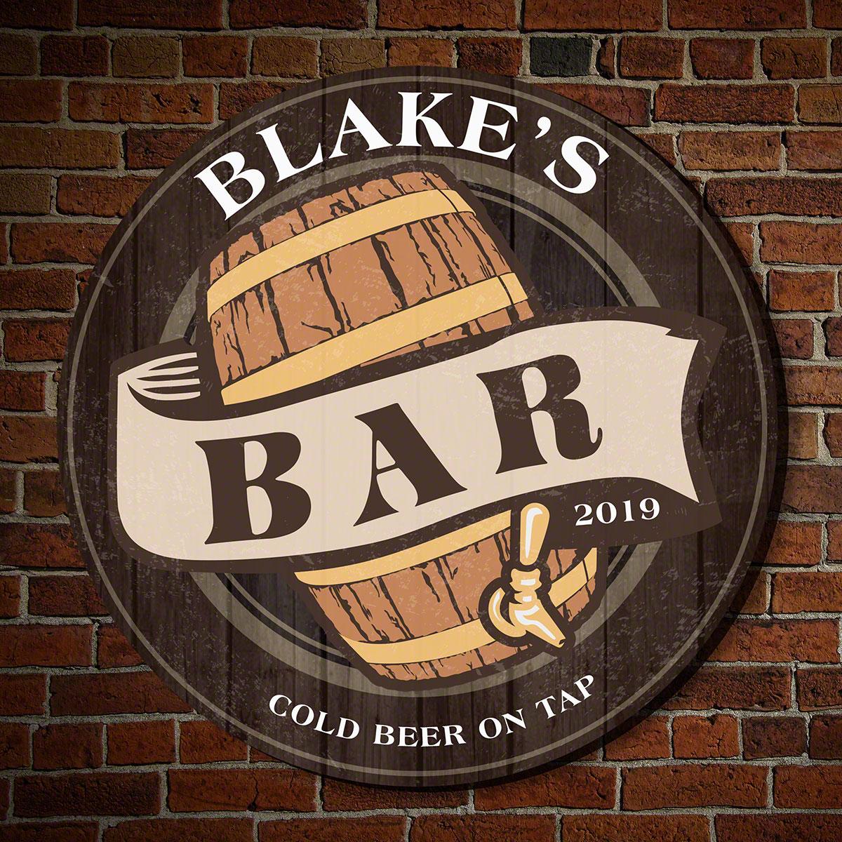 old fashioned beer barrel custom wooden bar sign
