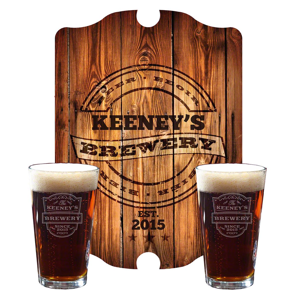 Vintage-Brewery-Custom-Beer-Glasses-and-Sign