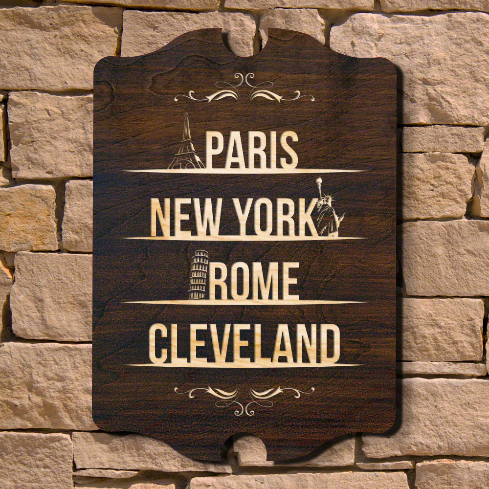 Choose Your Home Town Custom Wood Sign (Signature Series)