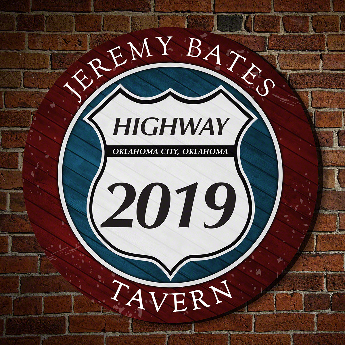 Highway Tavern Personalized Round Wood Sign