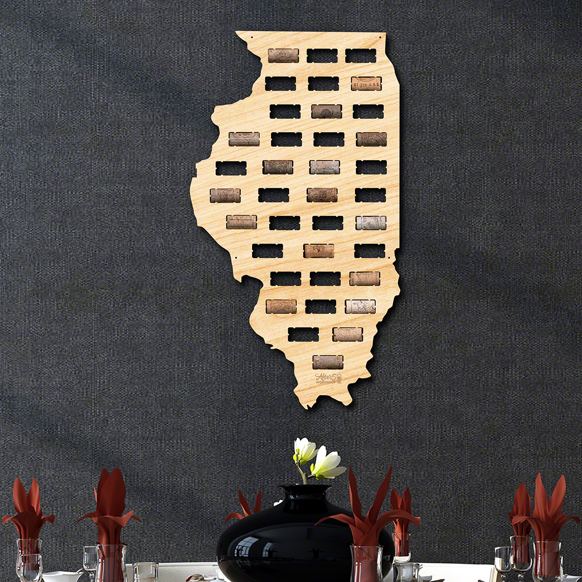 Illinois Wine Cork Map