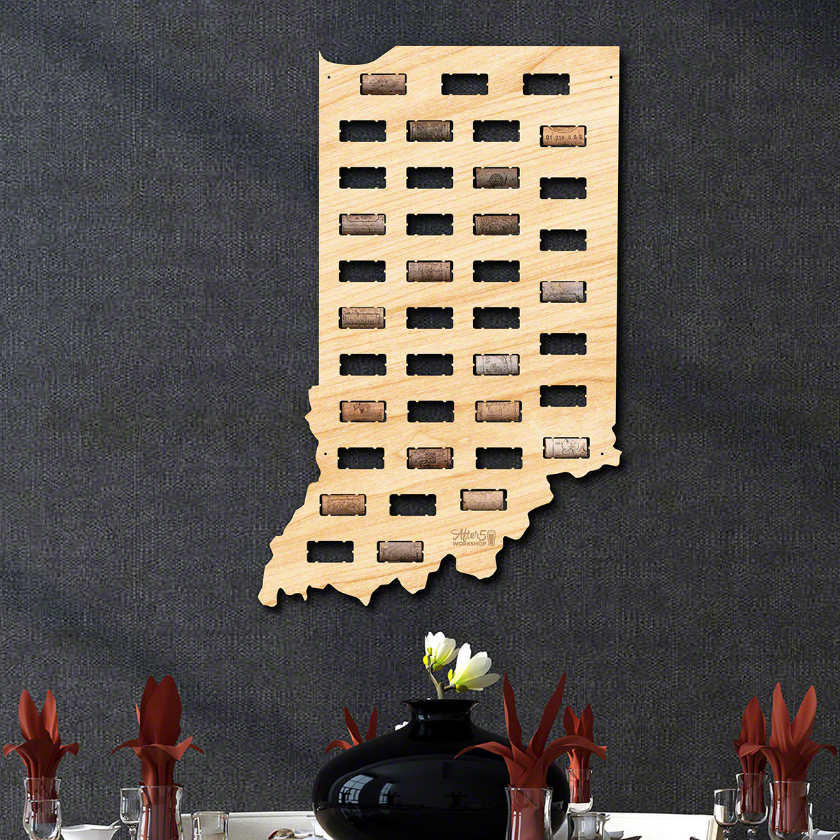 Indiana Wine Cork Map