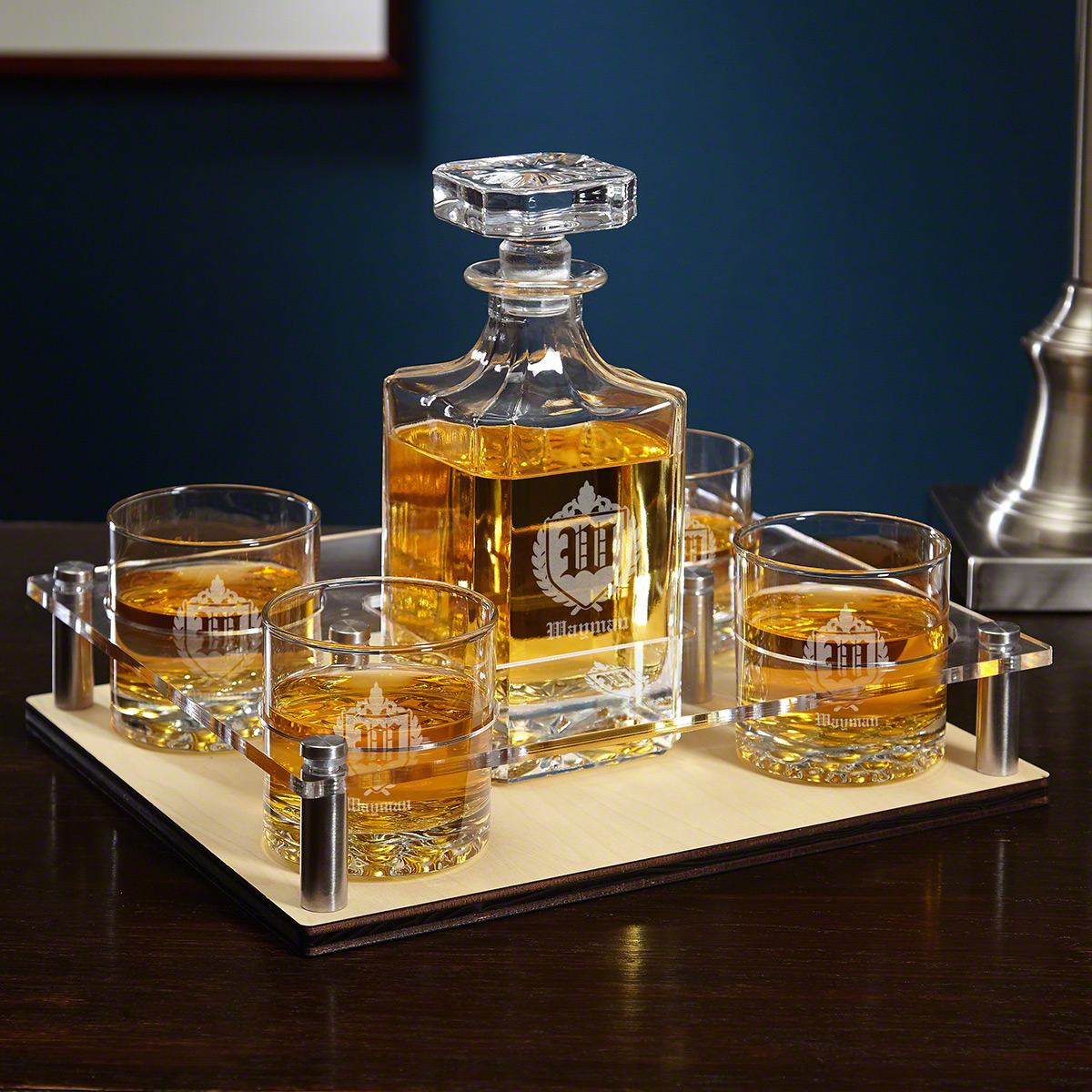 oxford monogram presentation set with decanter  u0026 glasses 6 pc