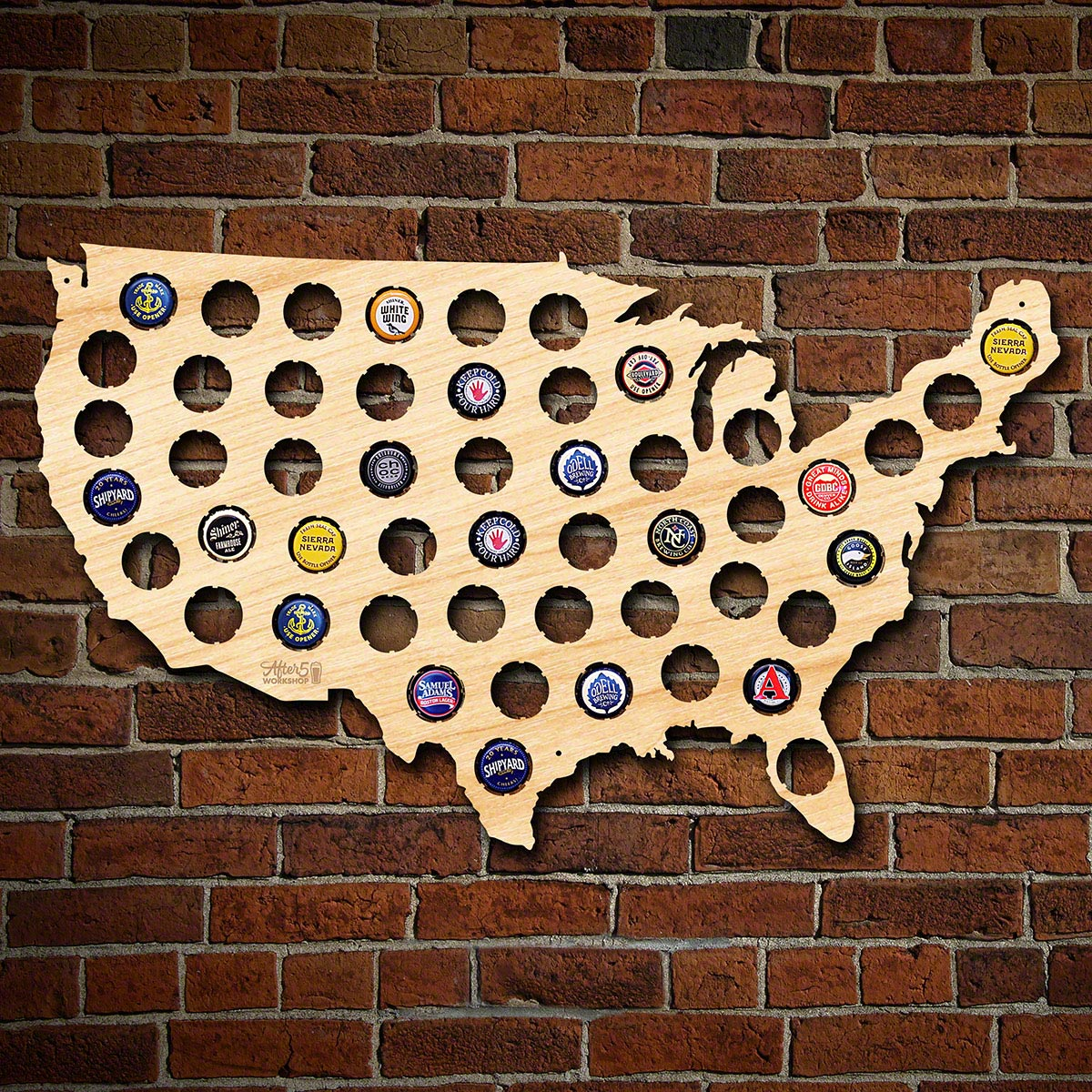 Beer Cap Map of USA, Medium