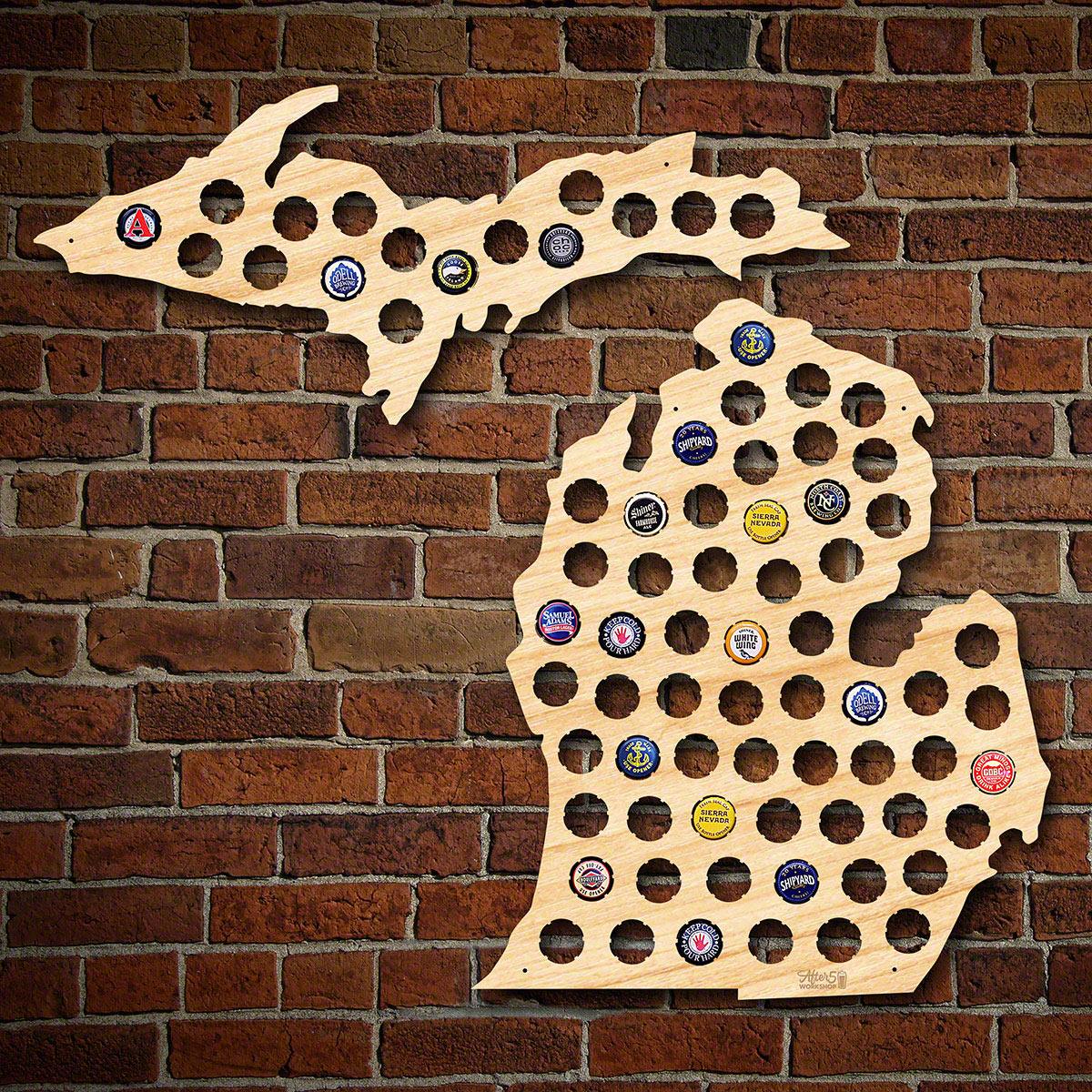 Michigan Beer Cap Map - Michigan bottle cap map