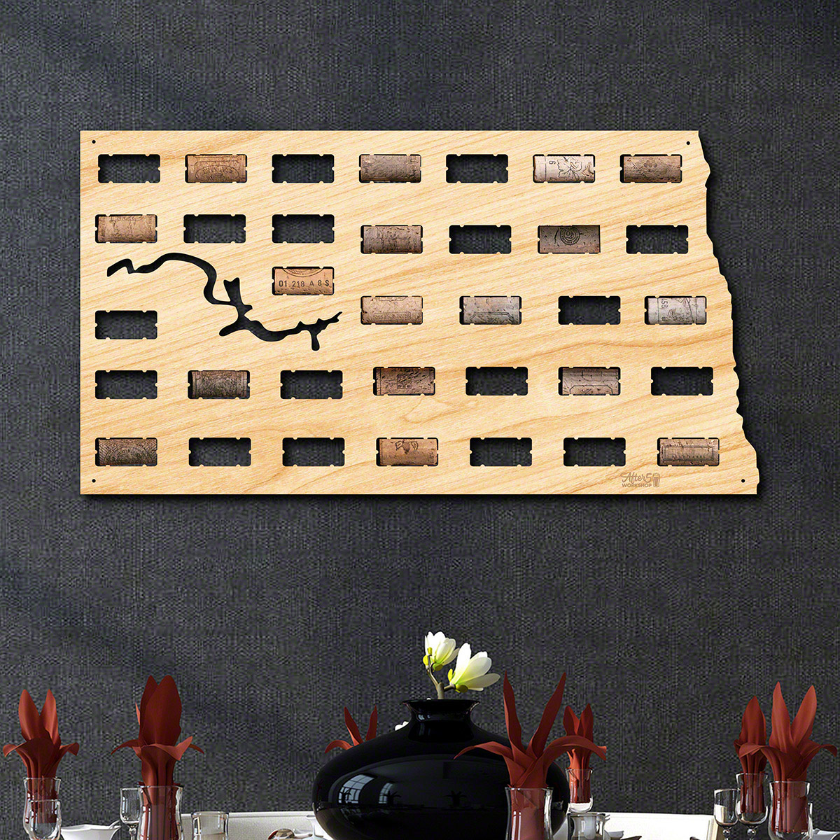 North Dakota Wine Cork Map