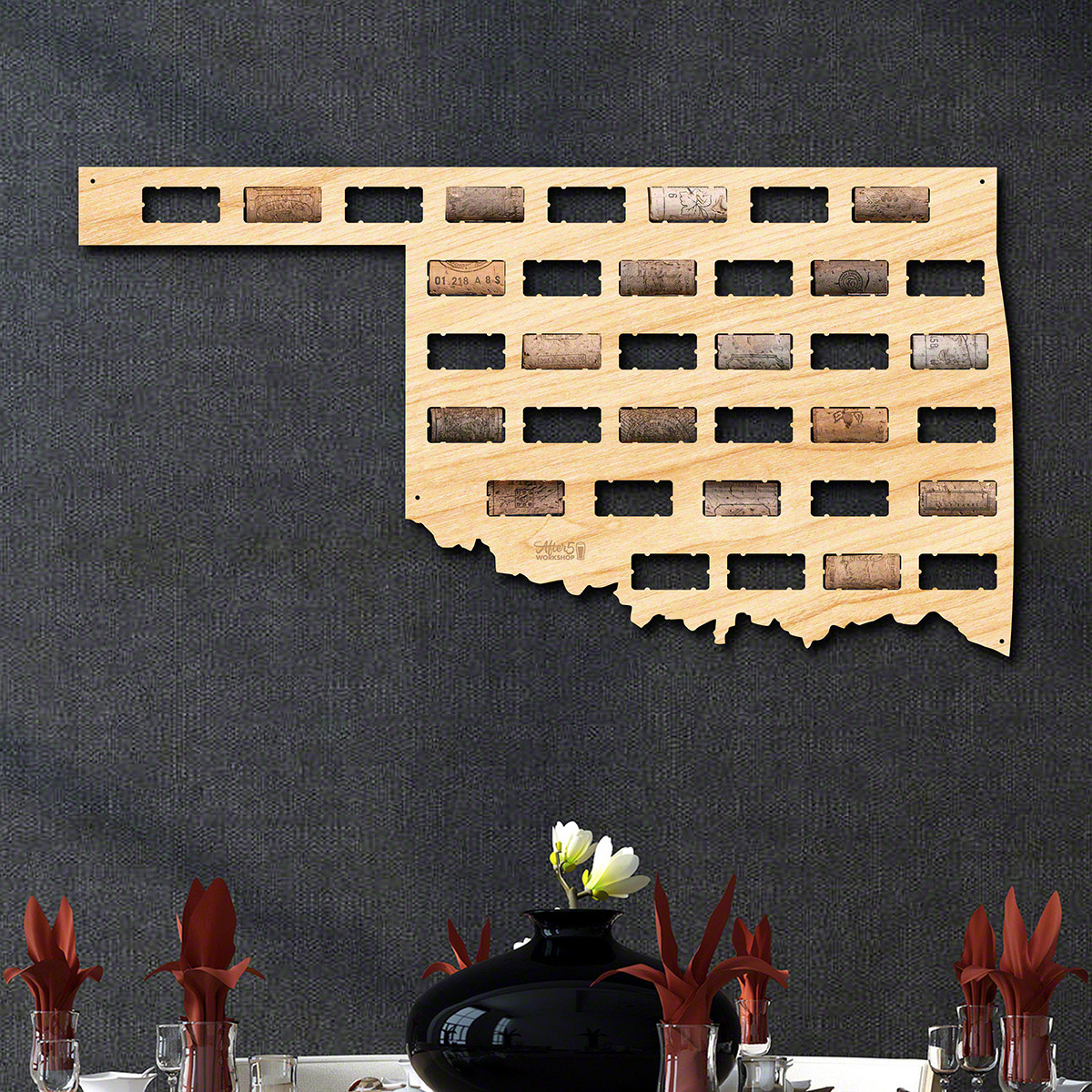 Oklahoma Wine Cork Map