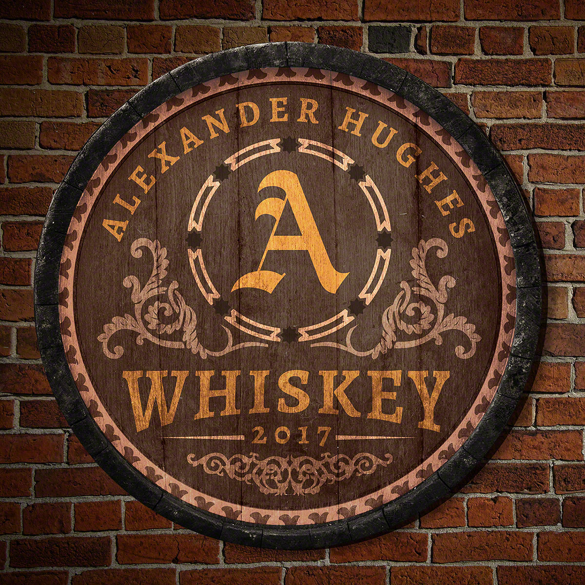 Nothing evokes the historic feeling of vintage distilleries quite like our Lancaster personalized whiskey barrel bar sign. Cut from newly-milled American birch wood, each round wall sign is personalized with the name, year, and initial of your choice. Des #bar