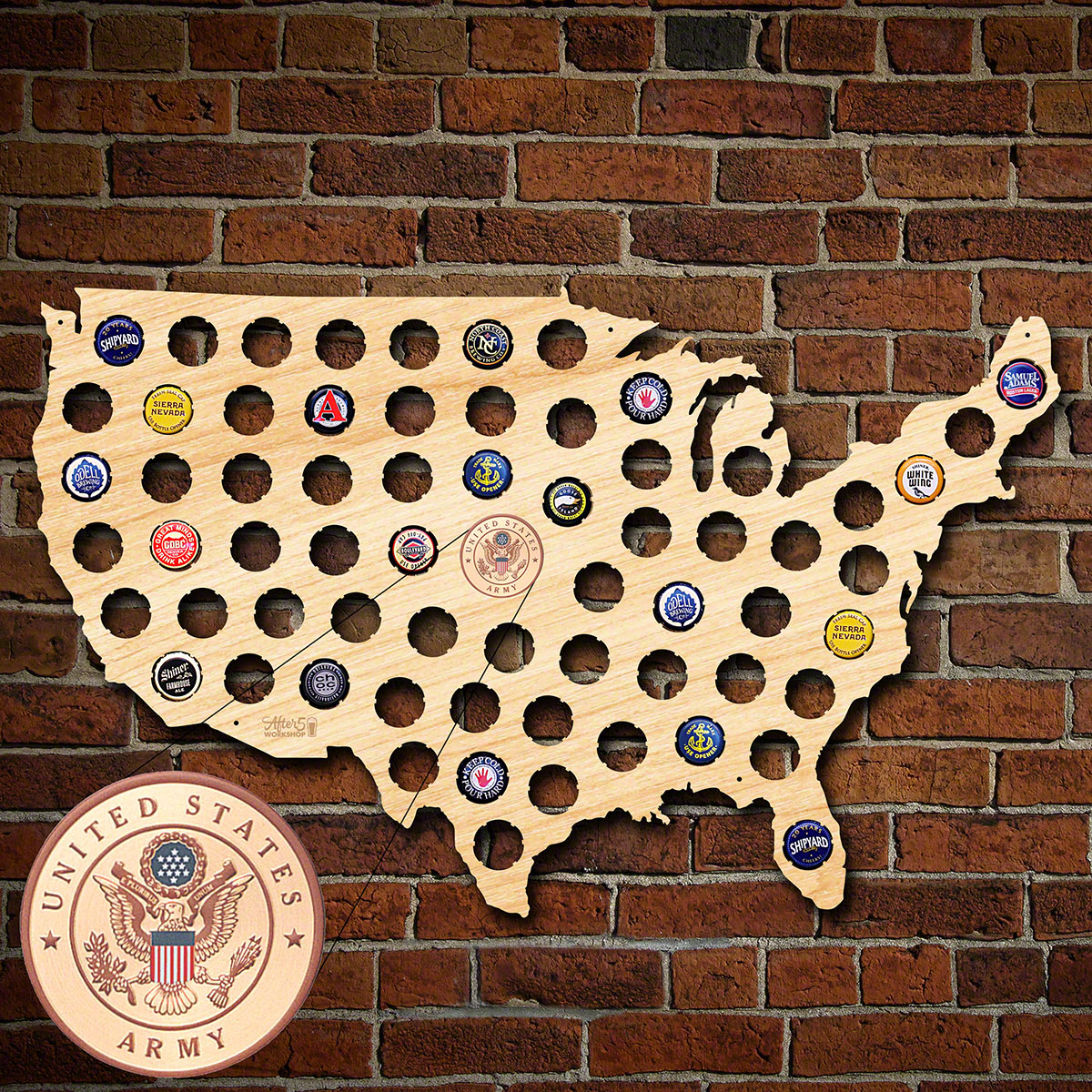 US Army Beer Cap Map of America