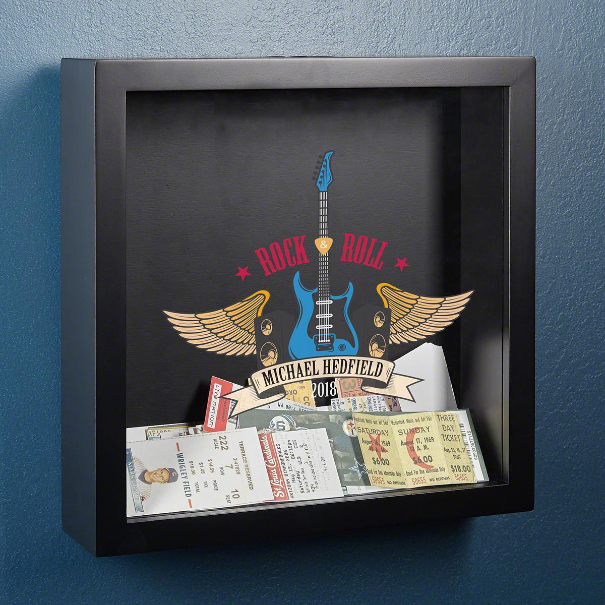 Rock & Roll Custom Concert Ticket Display Case