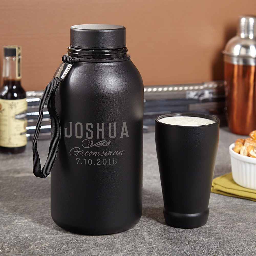 Classic Groomsman Gift Portable 64oz Personalized Growler + Travel Cup