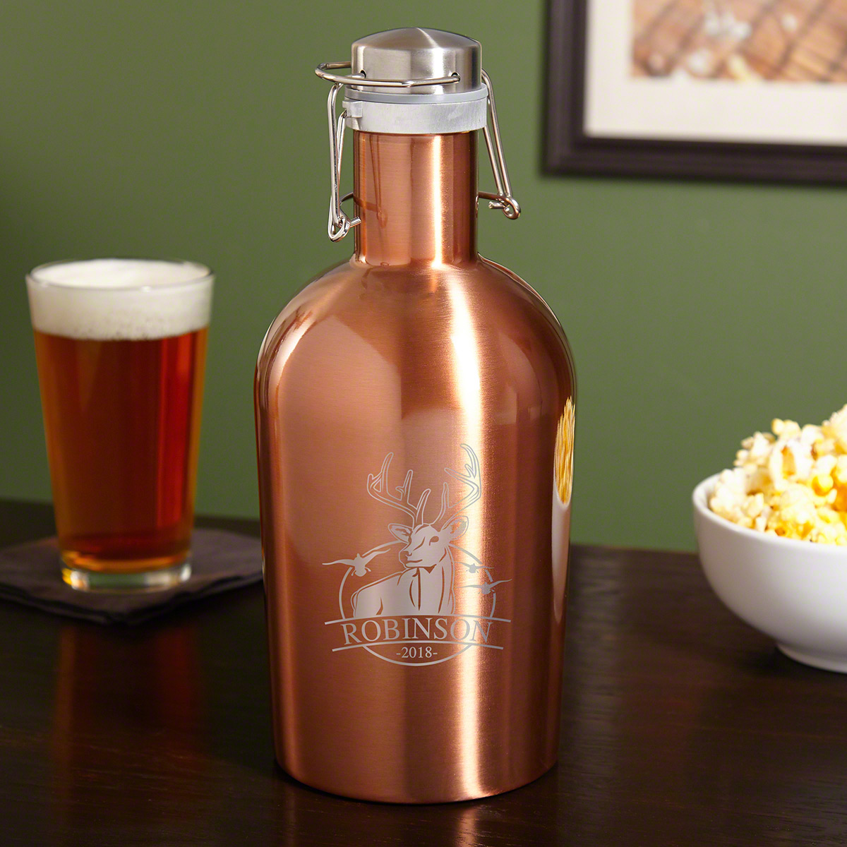Bird and Buck Hunter Copper-Tone Custom Steel Beer Growler for Hunters