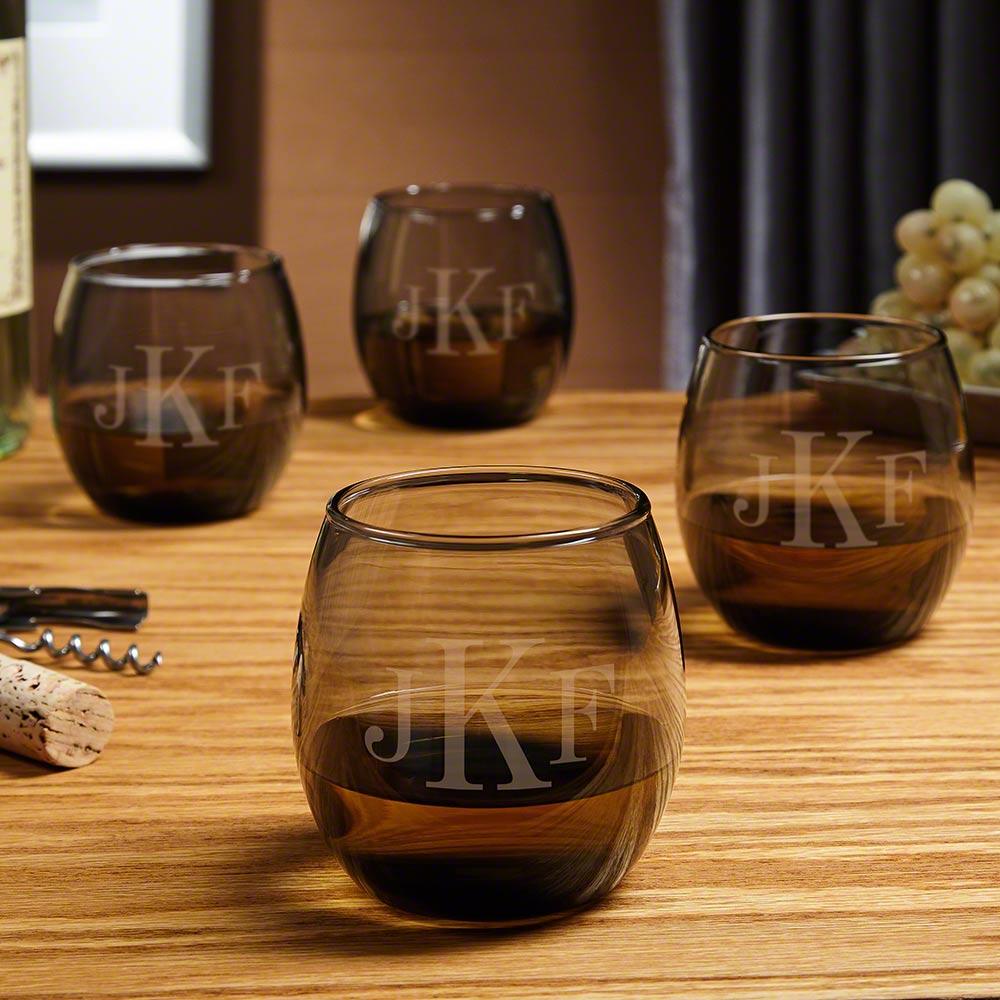 Classic Monogram Custom Stemless Wine Glasses, Smoke