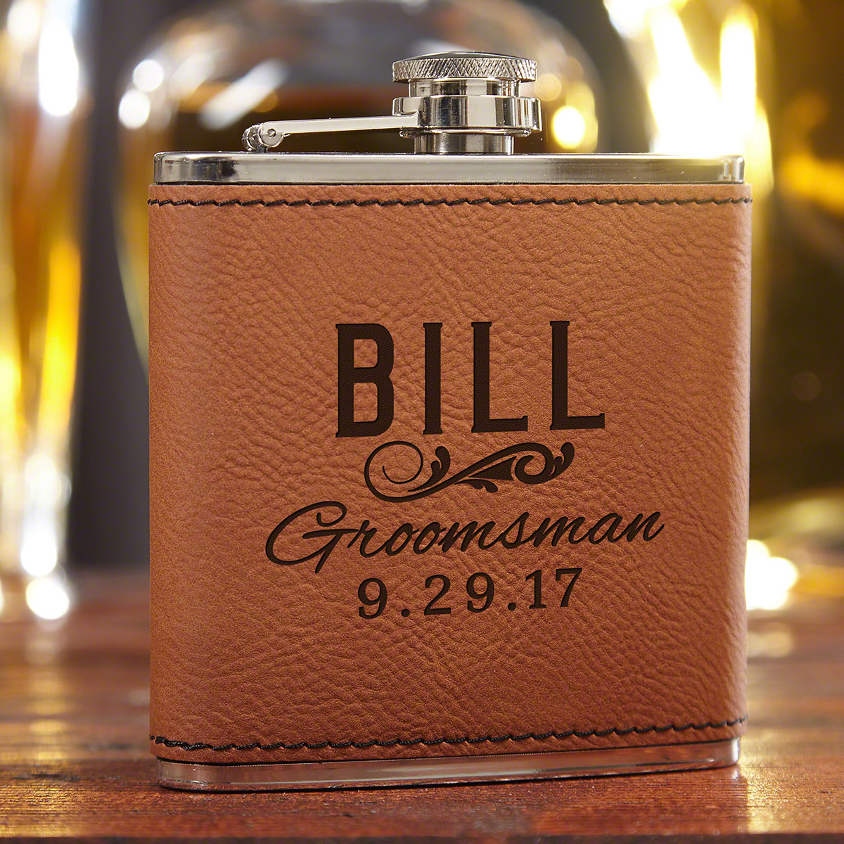 Classic Groomsman Gift Custom Saddle Brown Flask