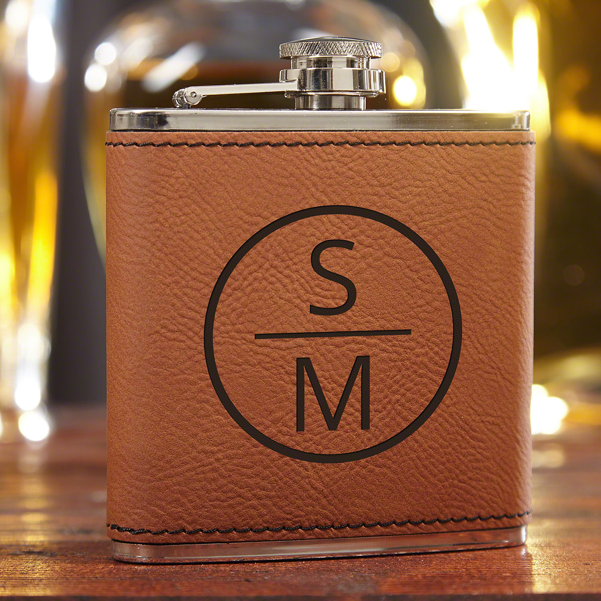 Emerson-Saddle-Brown-Personalized-Liquor-Flask