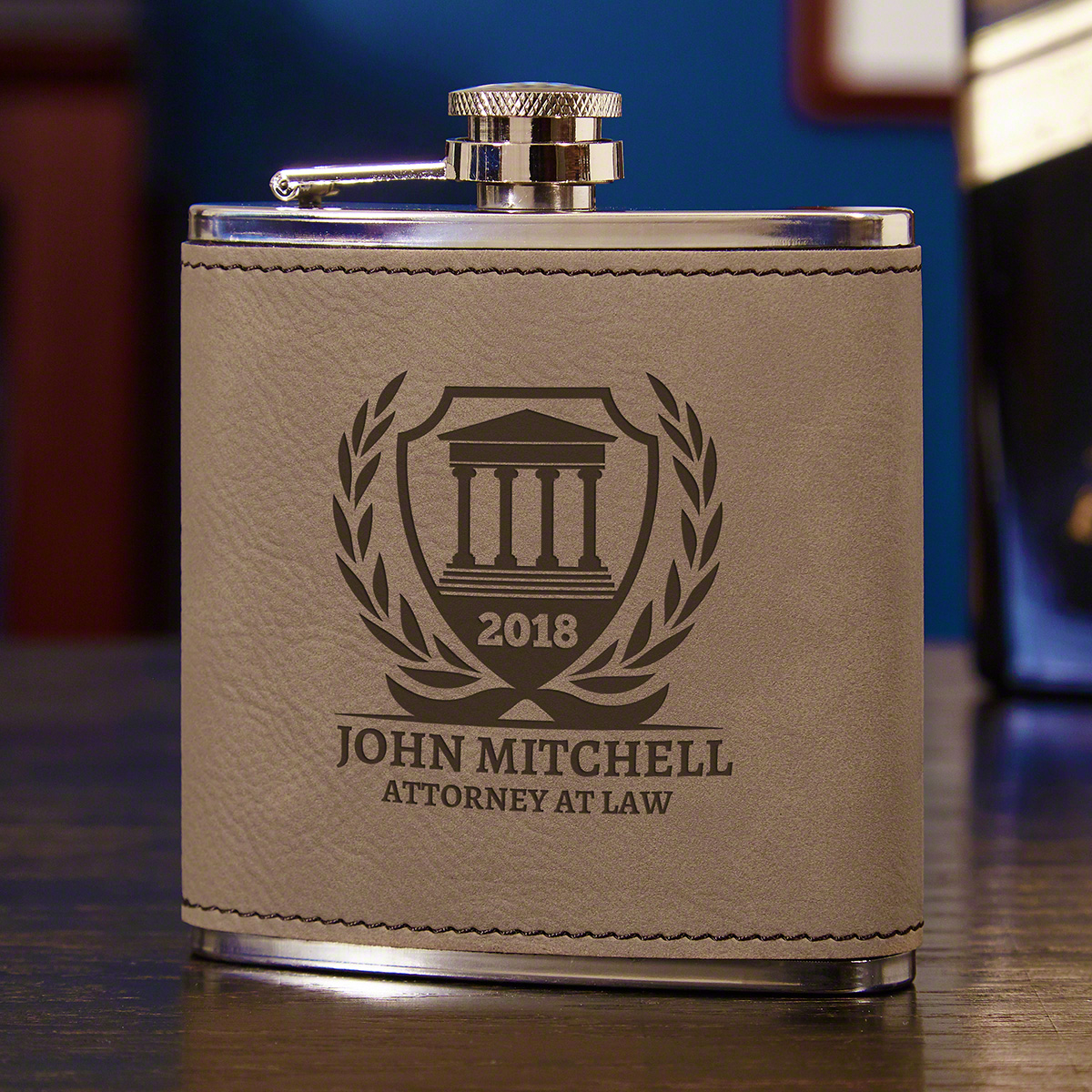 Personalized Courthouse Gravelstone Hip Flask