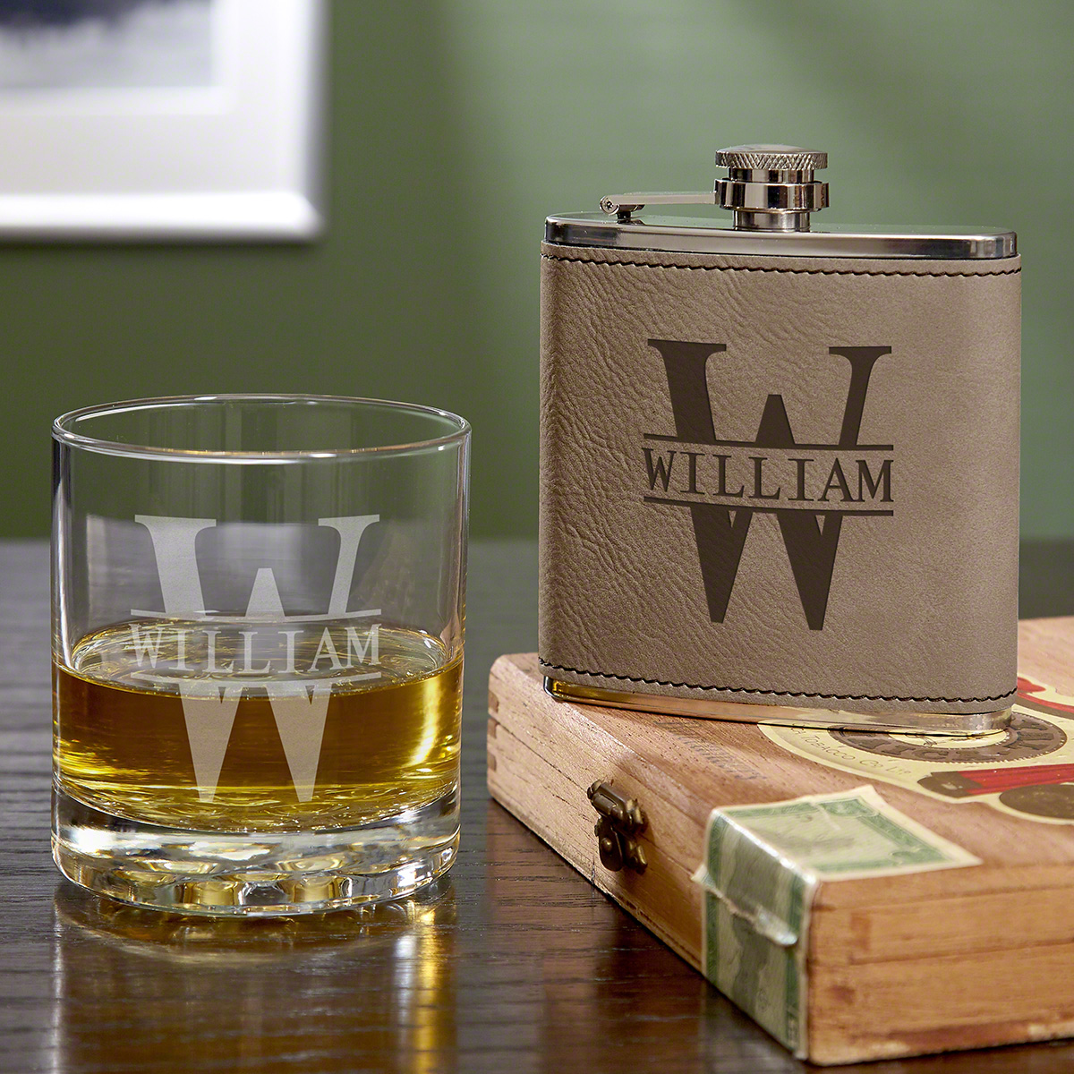 Personalized Oakmont Glass and Hip Flask Set, Gravelstone