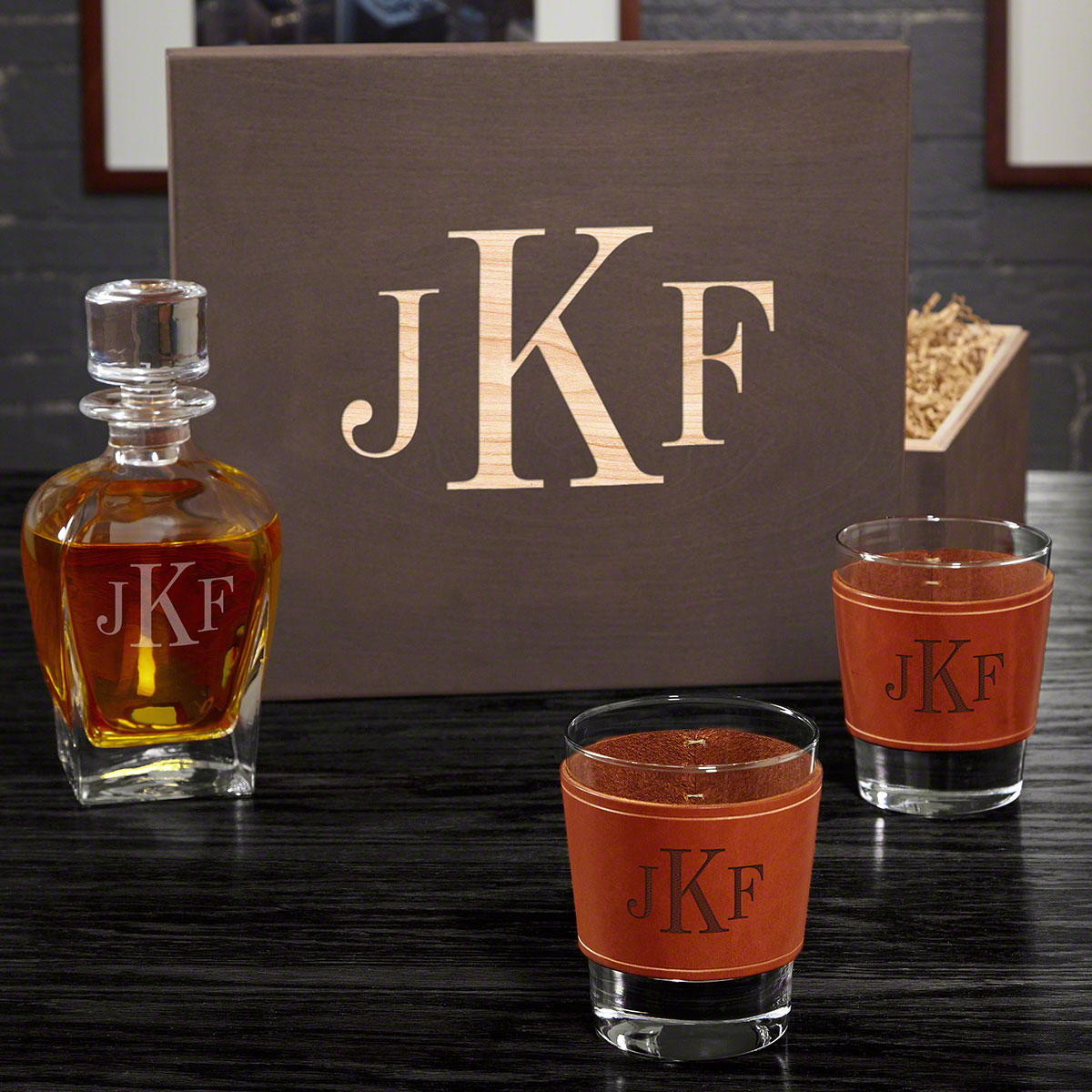 Classic Monogram Decanter and Leather Wrapped Glass Set