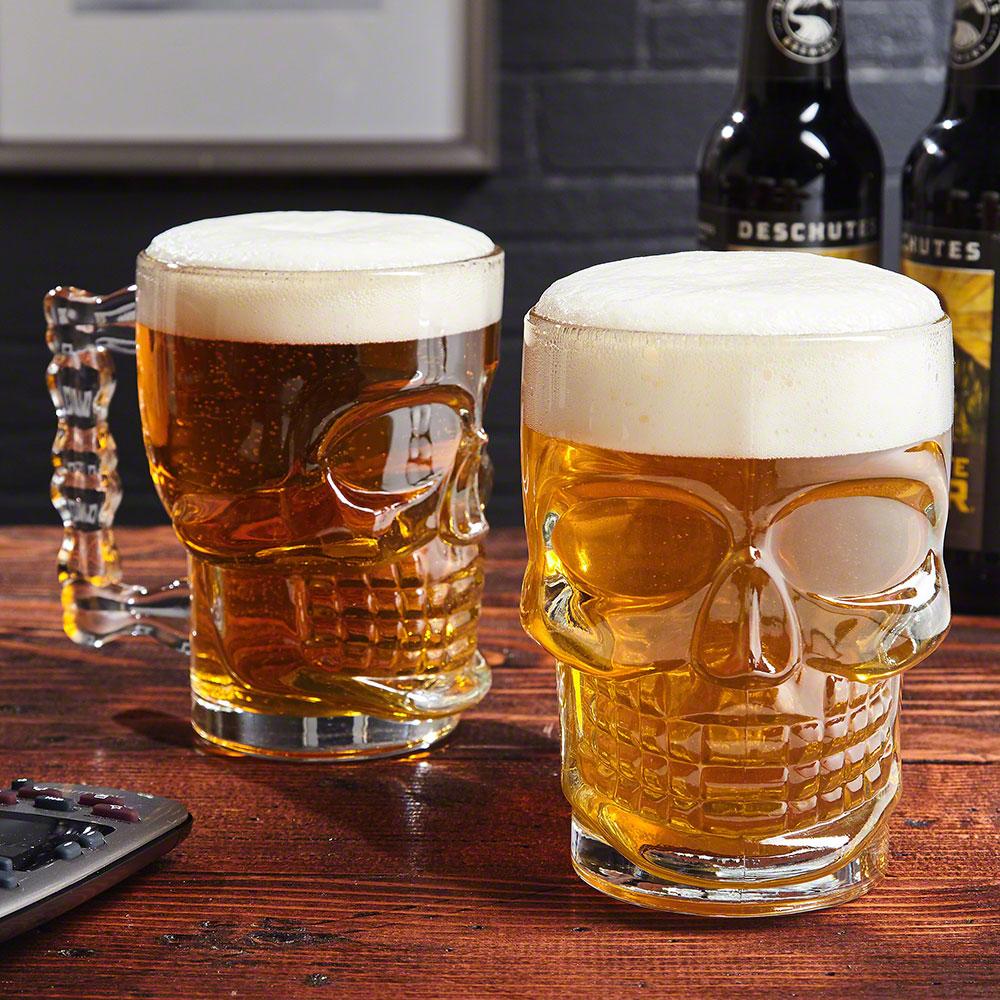 Skulls of Doom Beer Skull Mugs, Set of 2