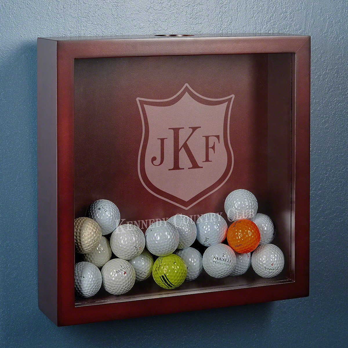 Country Club Crest Personalized Golf Ball Display Case