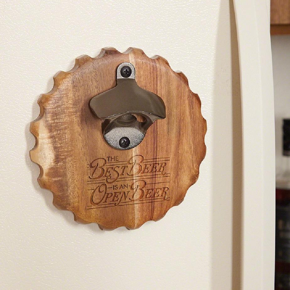 The Best Beer is an Open Beer Wooden Magnetic Bottle Opener