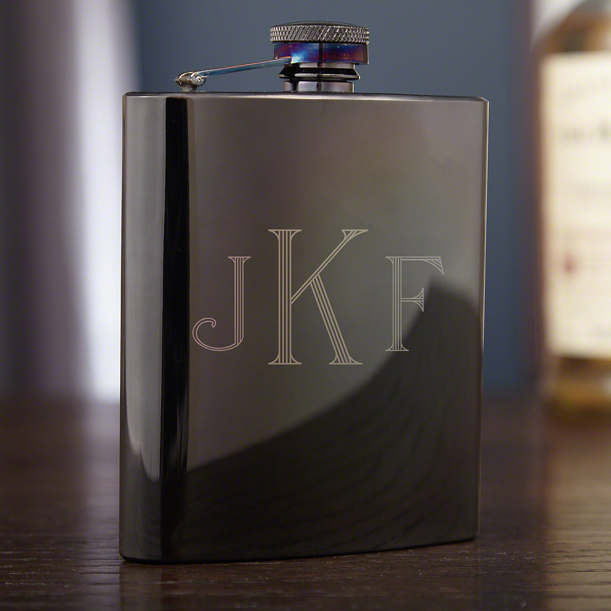 Jaguar Black Gunmetal Monogrammed Liquor Flask