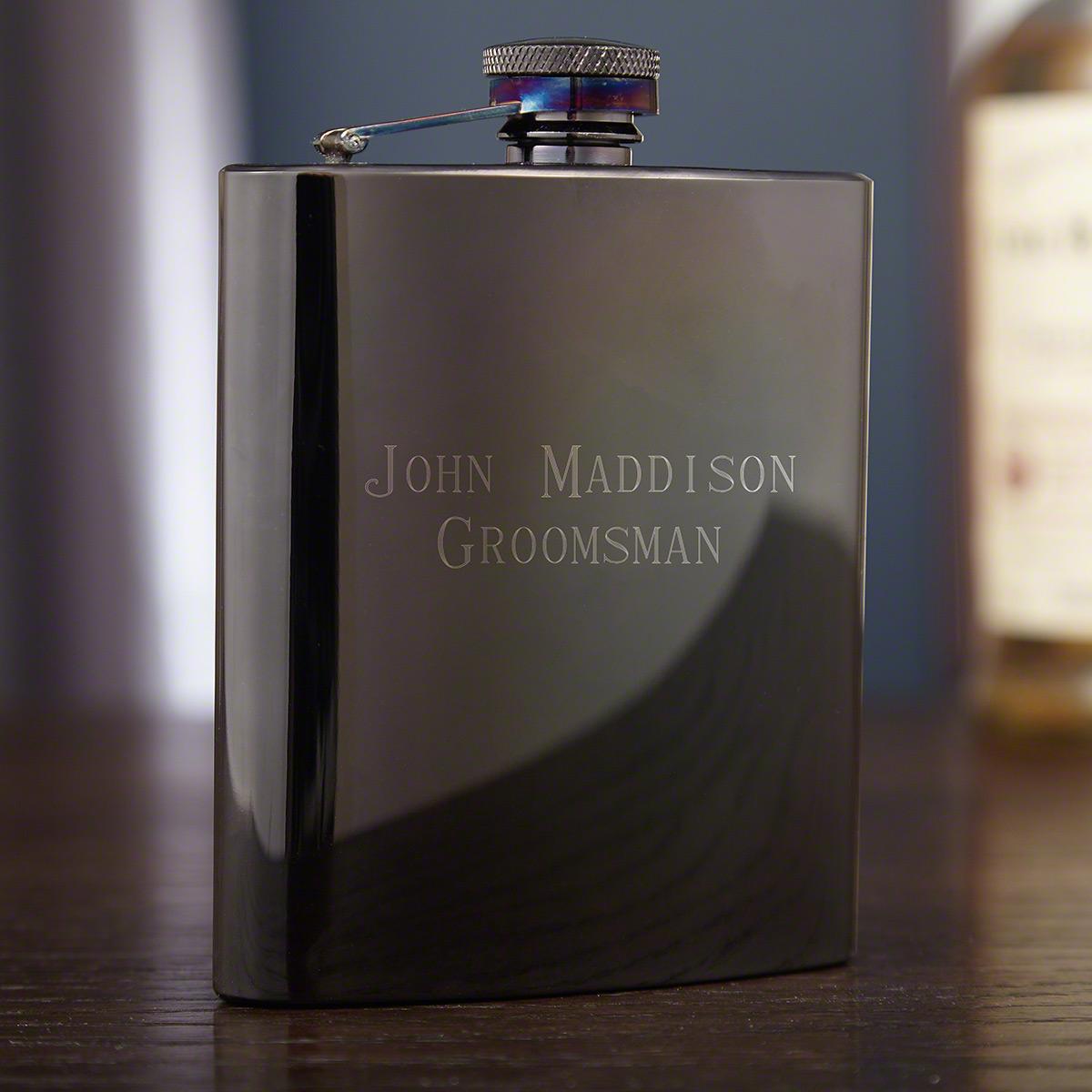 Jaguar Black Gunmetal Liquor Flask, Engravable