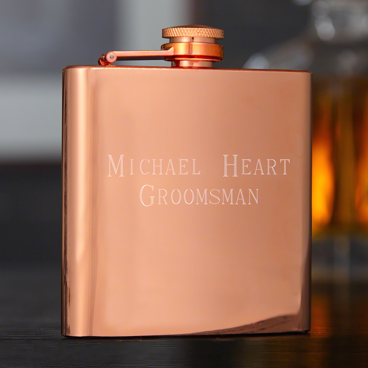 Solomon Engraved Copper-Tone Liquor Flask